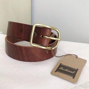 "ARCHIVAL Classic Congac Leather & Brass Belt 30"""